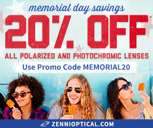 Zenni Optical Memorial Day Sale! Save 20% off photochromic lenses! Use code: MEMORIAL20.