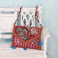 Embroidered Red Patchwork Cotton Shoulder Bag with Sequins