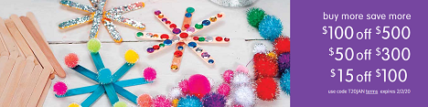 ARTS & CRAFTS SALE! Save Up To $100 OFF Plus Free Shipping On Orders Over $99!