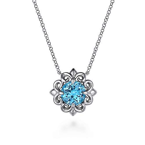"""Influencer Jewelry Product: 18"""" 925 Sterling Silver Blue Topaz Flower Pendant Necklace"""