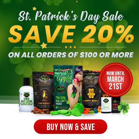 Banner announcing Eden's Herbals St. Patrick's Day sale offering 20% off purchases of $100 or more