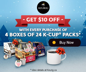 GET $10 OFF with every purchase of 4 boxes of 24 K-Cup packs®
