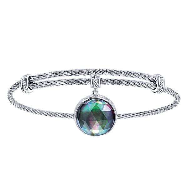 Influencer Jewelry Product: Adjustable Twisted Cable Stainless Steel Bangle Round Sterling Silver