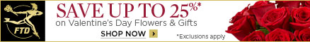 25% Off Flowers and Gifts (1/24-2/14/12) 438x60