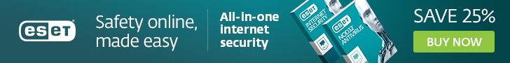 ESET Antivirus and Internet Security for Windows computers and laptops - Save 25%