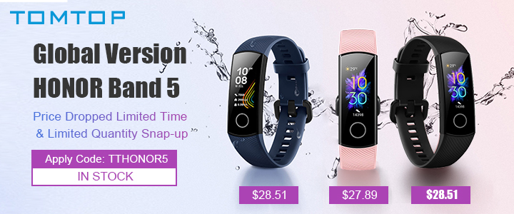 Honor Band 5 Global Version only $27.43 with code :TTHONOR5