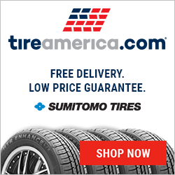 Tire image with logo.  Square.  CTA to homepage. Stresses free delivery and low price.