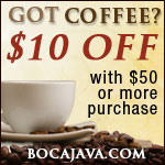 Boca Java Coupon $10 off order of $50 or More