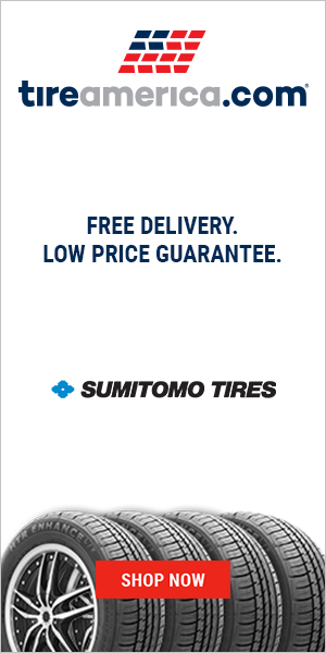 Half page. Tire image with logos.  CTA to homepage.  Stresses free delivery and low price guarantee.