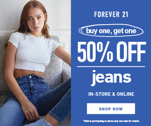 Forever 21: BOGO 50% off Women's Denim