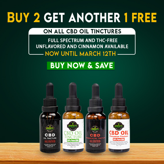 Banner announcing Eden's Herbals Buy 2 Get 1 Free All Tinctures Sale