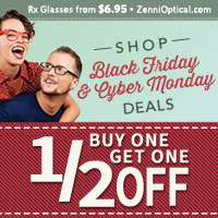 Zenni Black Friday and Cyber Monday Deals!  Buy One Get One 1/2 Off!