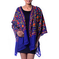Blue Floral Shawl with Colorful Chain Stitch Embroidery