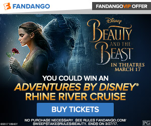 Fandango - Beauty and the Beast Sweepstakes - Buy tickets now and you could win an Adventures by Disney® Rhine River Cruise.