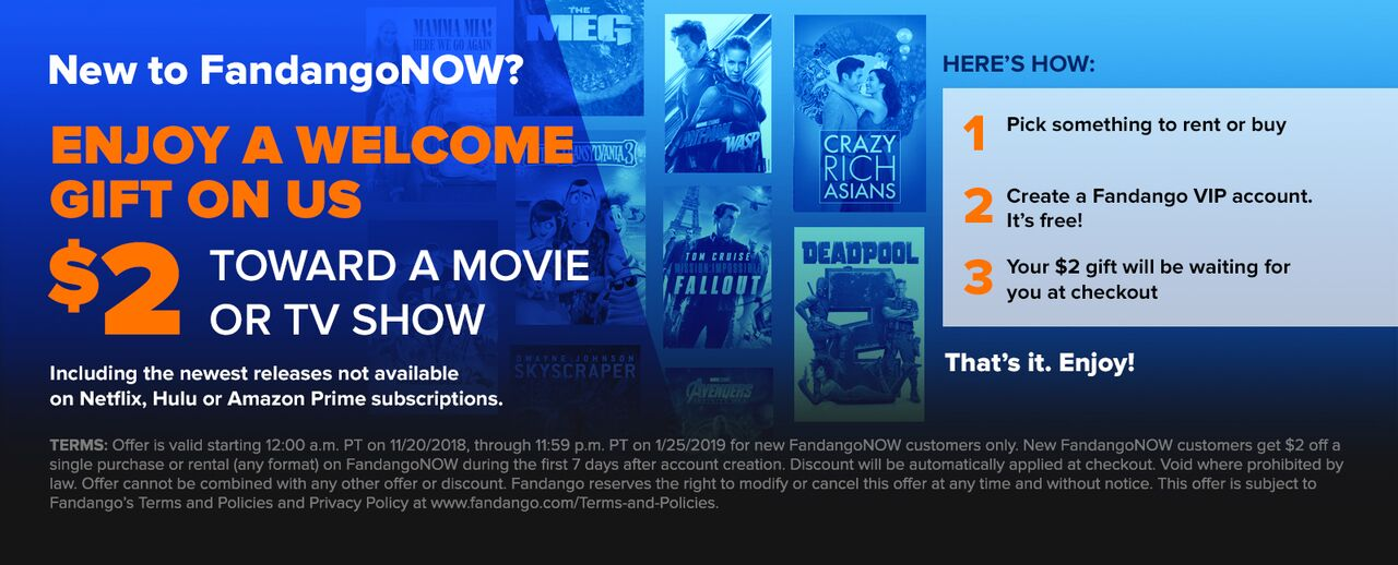 1280 x 518 FandangoNOW $2 OFF: Enjoy a welcome gift on us with $2 off towards a movie or TV show