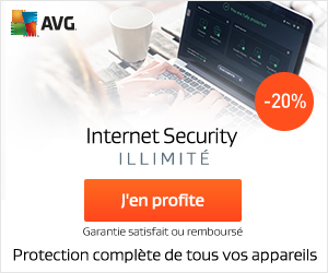 20% de réduction! Une protection fiable contre les virus avec AVG Internet Security – Illimité.