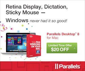 Limited time offer $20 off Parallels Desktop 8 for Mac