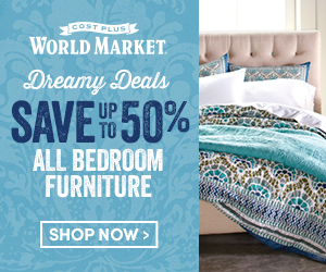 Save up to 50% on all Bedroom Furniture at World Market