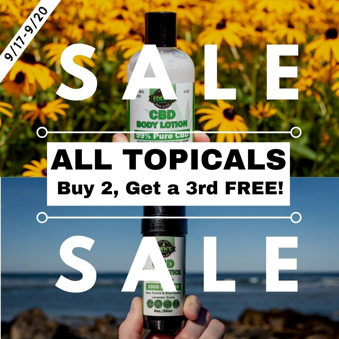Square banner link to Eden's Herbals sale on all topicals; buy two get a third or free