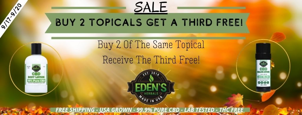 Long banner link to Eden's Herbals sale on all topicals; buy two get a third or free