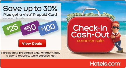 Hotels.com Canada - Check-In Cash-Out Summer Sale: Save up to 30% and Get up to $100 Cash Back! Book by 8/31, Travel by 9/30