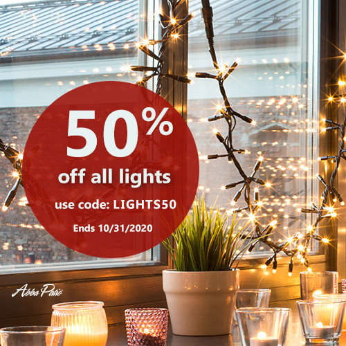 Holiday Decorative Lights Sale! Use Code LIGHTS50 to Get 50% Off All Lights! Ends 10/31/2020.