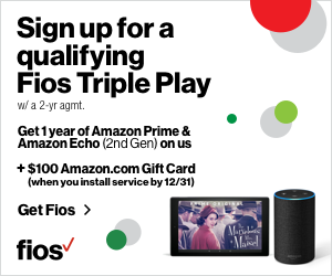 Verizon Fios Triple Play + $100 Amazon Gift Card + 1 Year of Amazon Prime and Amazon Echo (2nd Gen)