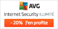 20% de r�duction! Une protection fiable contre les virus avec AVG Internet Security – Illimit�.