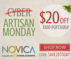 $20 Off $100 for Artisan Monday at NOVICA - in association with National Geographic
