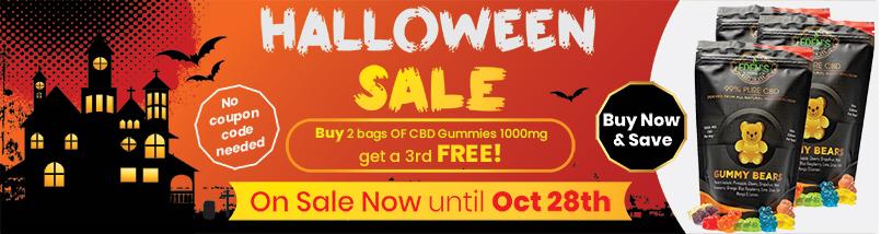 Banner announcing Eden's Herbals Halloween Buy 2 Get 1 Free Sale on 1000mg CBD Gummies