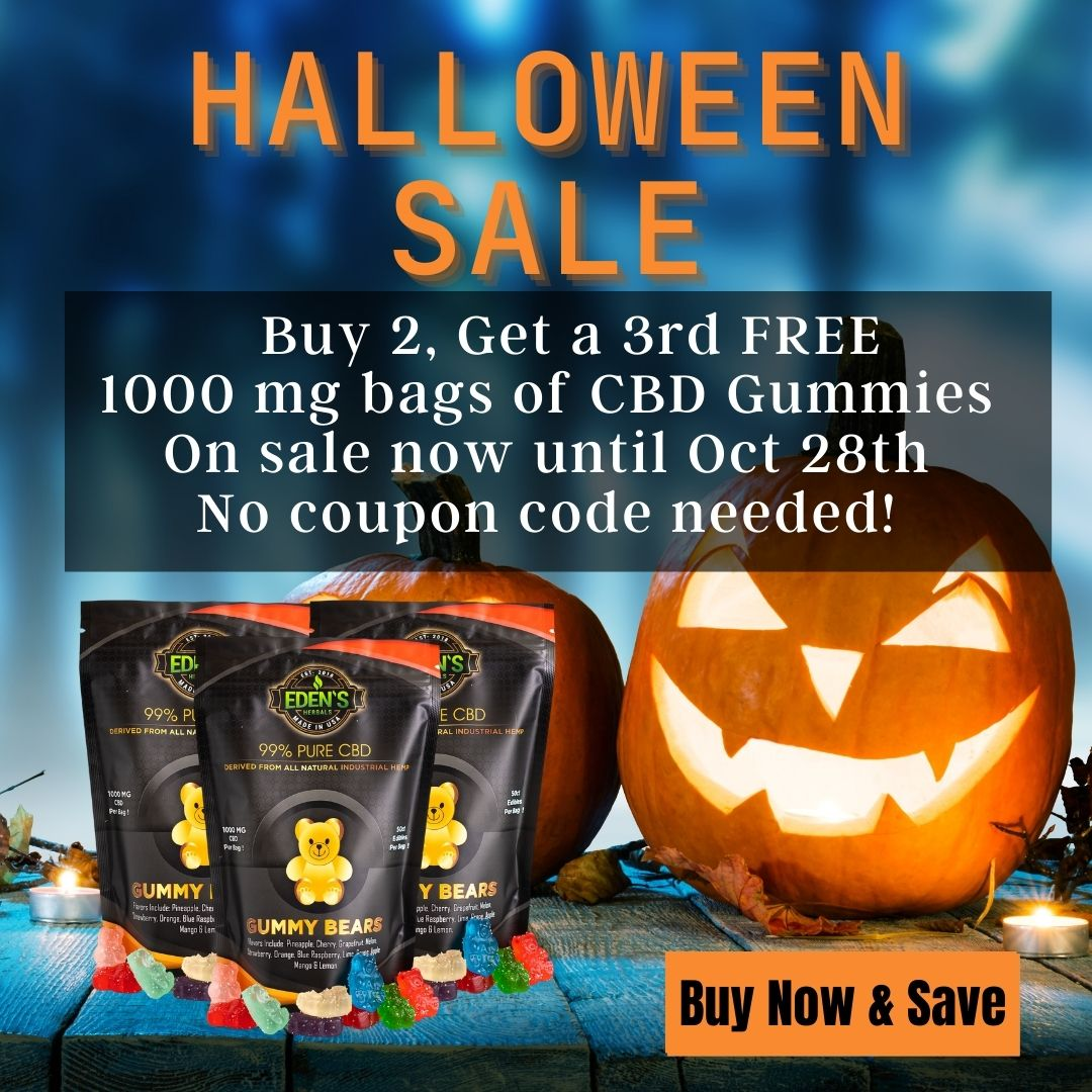 Banner announcing Eden's Herbals Halloween Buy 2 Get 1 Free Sale on 1000mg CBD Gummies