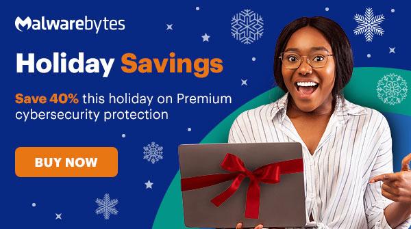 Save 40% on Malwarebytes