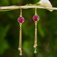 Thai Sapphire and Tourmaline Gold Plated Silver Earrings