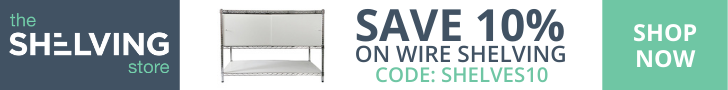 728x90 TSS Wire Shelving 10% OFF Coupon