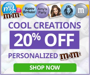 Get 20% Off site wide for on all personalized My M&M'S with code GETLUCKY (valid thru 3/4/17)