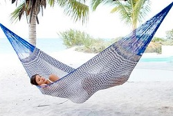 Handcrafted Cotton Striped Rope Hammock from Mexico (Double)