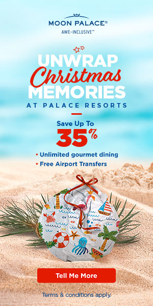 Treat your valentine. 6th night free to enjoy at Moon Palace Cancun. Book by feb 7. Safe travels.