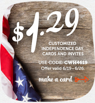 $1.29 Customized Independence Day Cards & Invites at Cardstore! Use Code: CWH4619, Valid through 6/2