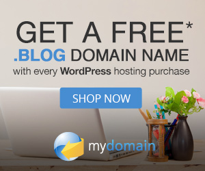 Get a Free .BLOG Domain Name with every WordPress Hosting Purchase at MyDomain.com! Shop Now!