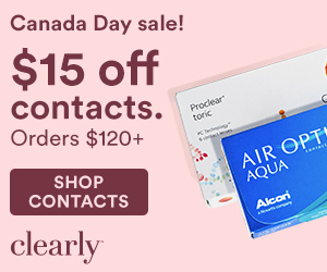 Save $15 off your contacts lens orders of $120+ at Clearly! Shop now code: CANADA15