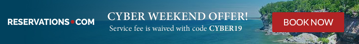 Cyber Weekend Savings! This weekend only, use code CYBER19 at Reservations.com and get the service f