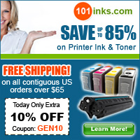 Use the code GEN10 and get 10% Off your order at 101inks.com