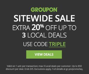 20% off 3 Local deals, 10% off 3 Goods deals, 10% 3 Getaways Flash Deals CODE: TRIPLE