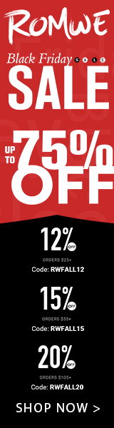 Black Friday Sale at us.ROMWE.com. Take 20% off orders US$105+ with code RWFALL20. Offer expires 11/