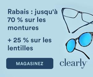 Rabais jusqu'à 70% sur les Montures + 25% sur les lentilles