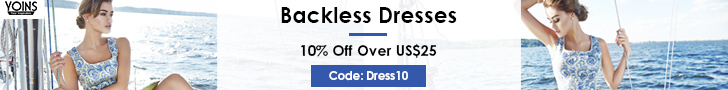 10% off over US$25 for backless dresses