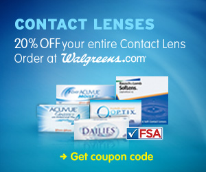 20% off contacts at Walgreen's