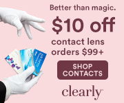 $10 off all contact lens orders of $99+ with code: CLEAR10