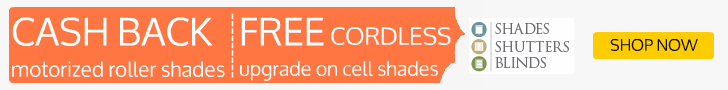 Cash Back + Free Cordless on Cell Shades extended!