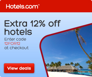 Save an extra 12% at Hotels.com with code 12FOR12! Book by 9/1, Travel by 11/21